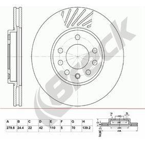 Bremsscheibe Bremsscheibendicke: 24.4mm, Lochanzahl: 7, Ø: 279.8mm mit OEM-Nummer 9117678