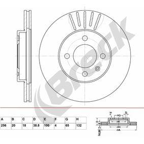 Bremsscheibe Bremsscheibendicke: 20,00mm, Lochanzahl: 4, Ø: 256,000mm mit OEM-Nummer 321.615.301 D