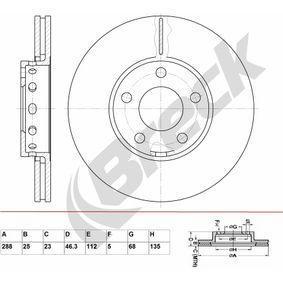 Bremsscheibe Bremsscheibendicke: 25,00mm, Lochanzahl: 5, Ø: 288,000mm mit OEM-Nummer 4A0 615 301E