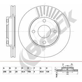 Brake Disc Brake Disc Thickness: 22,00mm, Num. of holes: 4, Ø: 258,000mm, Ø: 258,000mm with OEM Number 98AG-1125-EA