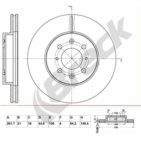 Спирачен диск дебелина на спирачния диск: 21,00мм, брой на дупките: 6, Ø: 261,700мм с ОЕМ-номер 45251 SK7-A00