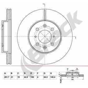 Bremsscheibe Bremsscheibendicke: 21,00mm, Lochanzahl: 6, Ø: 261,700mm, Ø: 261,700mm mit OEM-Nummer 45251SR0A10