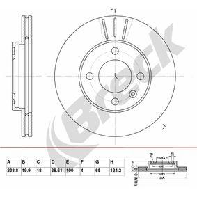 Bremsscheibe Bremsscheibendicke: 19,90mm, Lochanzahl: 4, Ø: 238,800mm mit OEM-Nummer 841 615301