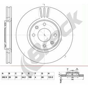 Bremsscheibe Bremsscheibendicke: 26,00mm, Lochanzahl: 4, Ø: 282,900mm mit OEM-Nummer 4246-W2