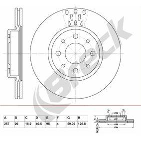 Bremsscheibe Bremsscheibendicke: 20,00mm, Lochanzahl: 4, Ø: 257,000mm, Ø: 257,000mm mit OEM-Nummer 5 174 912 4