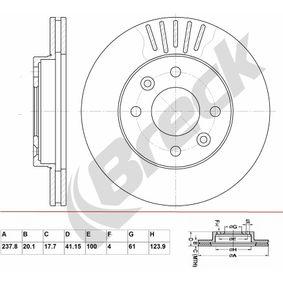 Bremsscheibe Bremsscheibendicke: 20,10mm, Lochanzahl: 4, Ø: 237,800mm, Ø: 237,800mm mit OEM-Nummer 7700 756 572