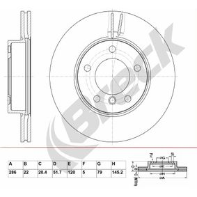Bremsscheibe Bremsscheibendicke: 22,00mm, Lochanzahl: 5, Ø: 286,000mm, Ø: 286,000mm mit OEM-Nummer 34.11.1.162.288