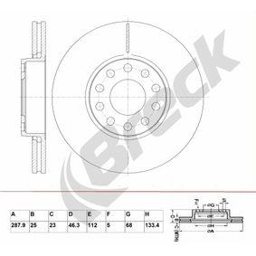 Bremsscheibe Bremsscheibendicke: 25,00mm, Lochanzahl: 5, Ø: 287,900mm mit OEM-Nummer 4B0 615 301B