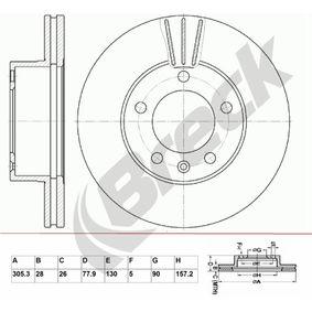 Bremsscheibe Bremsscheibendicke: 28,00mm, Lochanzahl: 5, Ø: 305,300mm mit OEM-Nummer 9111 038