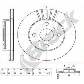 Bremsscheibe Bremsscheibendicke: 18,00mm, Lochanzahl: 4, Ø: 235,000mm, Ø: 235,000mm mit OEM-Nummer 43512 52010