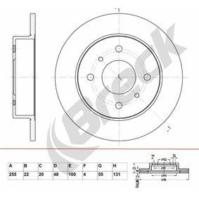 Bremsscheibe Bremsscheibendicke: 22,00mm, Lochanzahl: 4, Ø: 255,000mm mit OEM-Nummer 43512 12 550