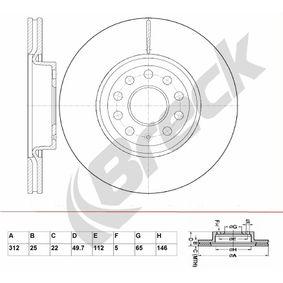 Bremsscheibe Bremsscheibendicke: 25,00mm, Lochanzahl: 9, Ø: 312,000mm, Ø: 312,000mm mit OEM-Nummer 1K0615301AA
