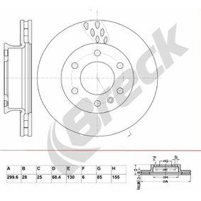 Bremsscheibe Bremsscheibendicke: 28,00mm, Lochanzahl: 6, Ø: 299,600mm, Ø: 299,600mm mit OEM-Nummer 2E0 615 301