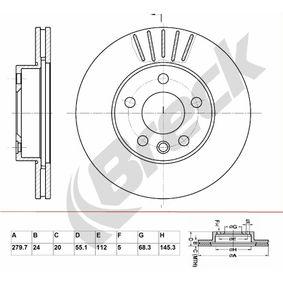 Bremsscheibe Bremsscheibendicke: 24,00mm, Lochanzahl: 5, Ø: 279,700mm mit OEM-Nummer 701.615.301F