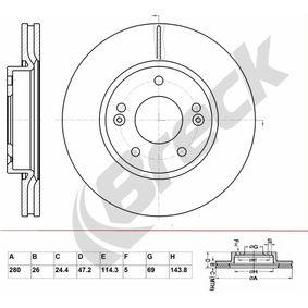 Brake Disc Brake Disc Thickness: 26,00mm, Num. of holes: 5, Ø: 280,000mm, Ø: 280,000mm with OEM Number 517121H000