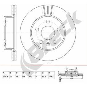 Bremsscheibe Bremsscheibendicke: 22,00mm, Lochanzahl: 5, Ø: 275,800mm mit OEM-Nummer 638.421.01.12