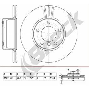 Bremsscheibe Bremsscheibendicke: 22,00mm, Lochanzahl: 5, Ø: 295,800mm mit OEM-Nummer 34111163013