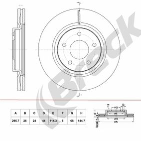 Bremsscheibe Bremsscheibendicke: 26,00mm, Lochanzahl: 5, Ø: 295,700mm mit OEM-Nummer 40206-JD00B