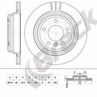 BRECK  BR 400 VA100 Bremsscheibe Bremsscheibendicke: 20,00mm, Lochanzahl: 5, Ø: 297,800mm, Ø: 297,800mm