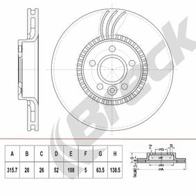 Bremsscheibe Bremsscheibendicke: 28,00mm, Lochanzahl: 5, Ø: 316,000mm, Ø: 316,000mm mit OEM-Nummer 138 0046