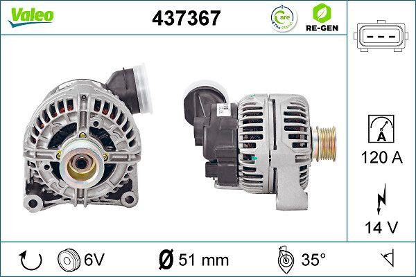 Lichtmaschine 437367 VALEO SG12B029 in Original Qualität