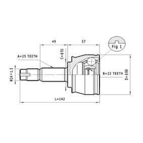 Joint Kit, drive shaft C.155 PANDA (169) 1.2 MY 2006