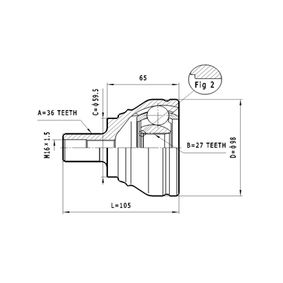 Gelenksatz, Antriebswelle Außenverz.Radseite: 36, Innenverz. Radseite: 27 mit OEM-Nummer 1K04.980.99B