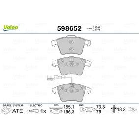 Brake Pad Set, disc brake Width 2 [mm]: 156,3mm, Width: 155,1mm, Height 2: 75mm, Height: 73,3mm, Thickness 2: 17,7mm, Thickness: 18,2mm with OEM Number 7L6 698 151 F