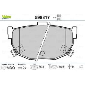 Bremsbelagsatz, Scheibenbremse Breite: 85,3mm, Höhe: 46,6mm, Dicke/Stärke: 14mm mit OEM-Nummer 58202-28A00