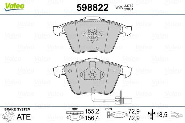 Комплект спирачно феродо, дискови спирачки 598822 VALEO 598822 в оригиналното качество