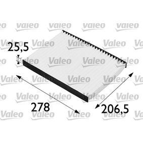 Filter, Innenraumluft Länge: 278mm, Breite: 207mm, Höhe: 26mm mit OEM-Nummer 1H0819644A