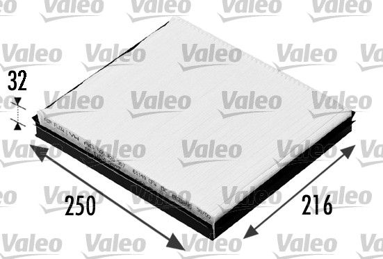 VALEO CLIMFILTER COMFORT 698685 Filtru, aer habitaclu Lungime: 249mm, Latime: 216mm, Înaltime: 32mm