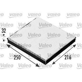 Filter, Innenraumluft Länge: 249mm, Breite: 216mm, Höhe: 32mm mit OEM-Nummer 6Q0 819 653