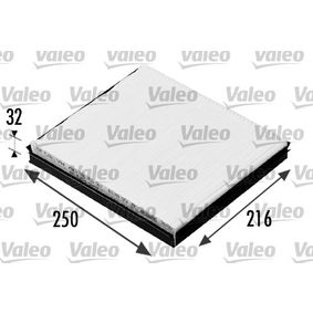 Filter, interior air Length: 249mm, Width: 216mm, Height: 32mm with OEM Number 6Q0 820 367