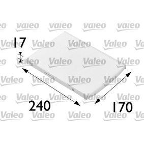Filter, Innenraumluft Länge: 240mm, Breite: 170mm, Höhe: 17mm mit OEM-Nummer 6065 3642