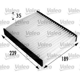 Filter, Innenraumluft Länge: 239mm, Breite: 189mm, Höhe: 34mm mit OEM-Nummer 1204464