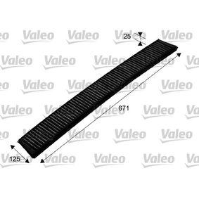 Filter, Innenraumluft Länge: 671mm, Breite: 125mm, Höhe: 25mm mit OEM-Nummer 6431 9216 590