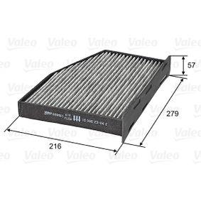 Filter, Innenraumluft Länge: 279mm, Breite: 216mm, Höhe: 57mm mit OEM-Nummer 1K1819653