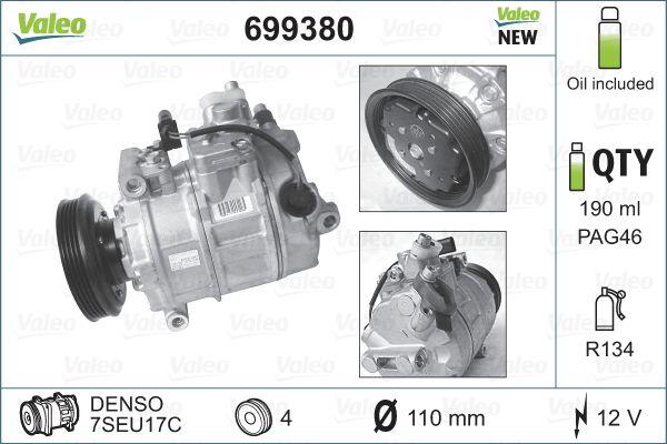 VALEO NEW ORIGINAL PART 699380 Compresor, aire acondicionado Polea Ø: 110mm