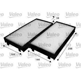 Filter, Innenraumluft Länge: 293mm, Breite: 138mm, Breite 1: 144mm, Höhe: 34mm, Breite 2: 144mm mit OEM-Nummer 64 31 6 945 585
