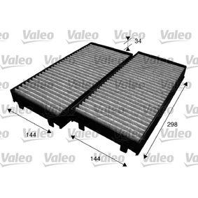 Filter, Innenraumluft Länge: 293mm, Breite: 138mm, Breite 1: 144mm, Höhe: 34mm, Breite 2: 144mm mit OEM-Nummer 64316945585