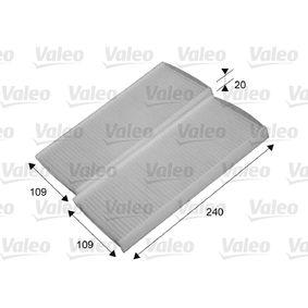 Filter, Innenraumluft Länge: 240mm, Breite: 109mm, Höhe: 20mm mit OEM-Nummer 7701 209 837