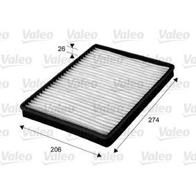 Filter, Innenraumluft Länge: 274mm, Breite: 206mm, Höhe: 26mm mit OEM-Nummer 95599725