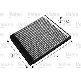 Filter, Innenraumluft Länge: 211mm, Breite: 217mm, Höhe: 19,5mm mit OEM-Nummer 6447-PF