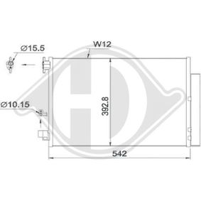 Kondensator, Klimaanlage Netzmaße: 510x397x12, Kältemittel: R 134a mit OEM-Nummer 921006454R