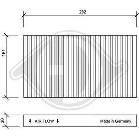 Filter, Innenraumluft Länge: 292mm, Breite: 161mm, Höhe: 30mm mit OEM-Nummer 60653641