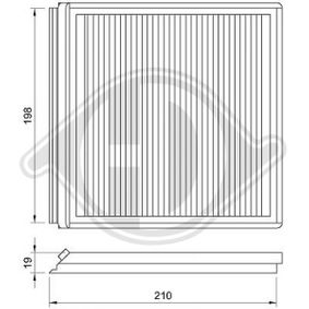 Filter, Innenraumluft Länge: 215mm, Breite: 210mm, Höhe: 19mm mit OEM-Nummer 6441EG