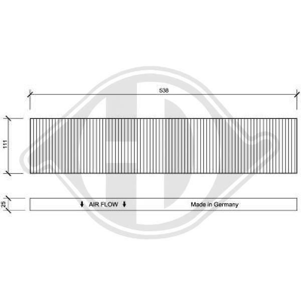 DIEDERICHS  DCI0020 Filter, Innenraumluft Länge: 538mm, Breite: 111mm, Höhe: 25mm