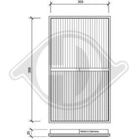 Filter, Innenraumluft Länge: 213mm, Breite: 369mm, Höhe: 25mm mit OEM-Nummer 001-835-3047