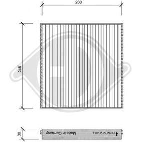 Filter, Innenraumluft Länge: 256mm, Breite: 234mm, Höhe: 30mm mit OEM-Nummer 90 559 549